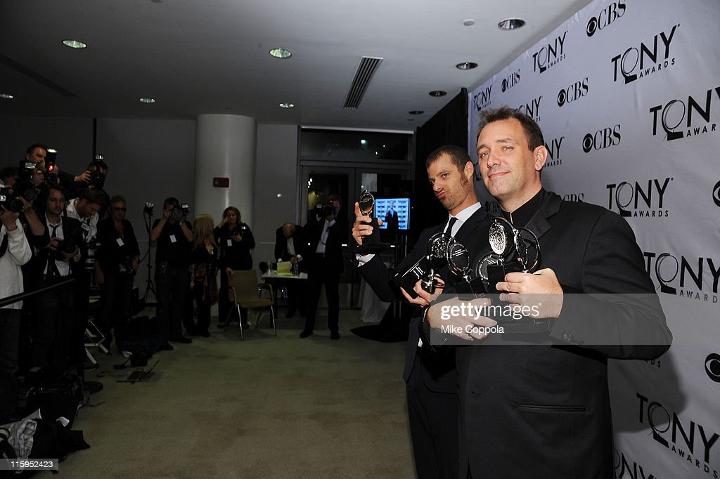 Matt Stone and Trey Parker pose with the award for Best Musical in the press room during the 65th Annual Tony Awards at the The Jewish Community Center in Manhattan on June 12, 2011 in New York City.