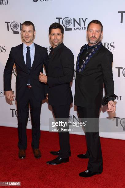 Matt Stone John Stamos and Trey Parker attend the 66th Annual Tony Awards at The Beacon Theatre on June 10 2012 in New York City