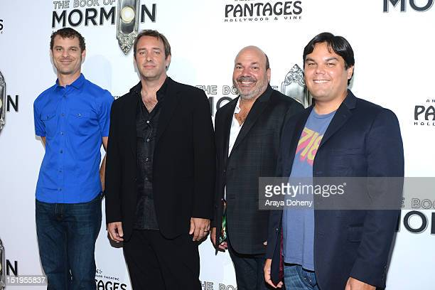 Matt Stone Trey Parker Casey Nicholaw and Robert Lopez attend 'The Book Of Mormon' Los Angeles Opening Night at the Pantages Theatre on September 12...