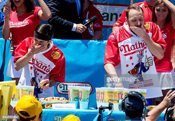 Matt Stonie and Joey Chestnut compete in the annual Hot Dog Eating Contest at Coney Island July 4 2016 in New York City Joey Chestnut retook the...
