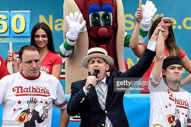 Matt Stonie defeats Joey Chestnut after eating 62 hot dogs at The Nathan's Famous Fourth of July International Hot DogEating Contest in Coney Island...