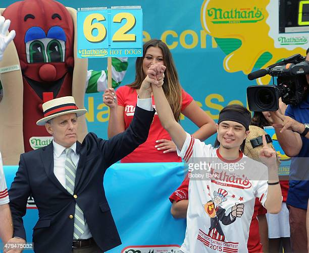 Matt Stonie eats 62 hot dogs to upset Joey Chestnut as the new winner of the 2015 Nathan's Famous 4th Of July International Hot Dog Eating Contest at...