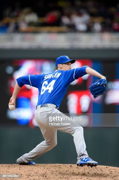 Matt Strahm of the Kansas City Royals delivers a pitch against the Minnesota Twins during game one of a doubleheader on May 21 2017 at Target Field...