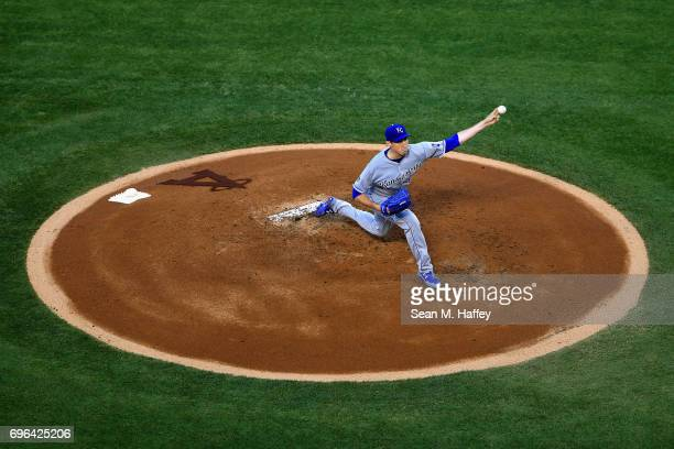 Matt Strahm of the Kansas City Royals pitches during the first inning of a game against the Los Angeles Angels of Anaheim at Angel Stadium of Anaheim...