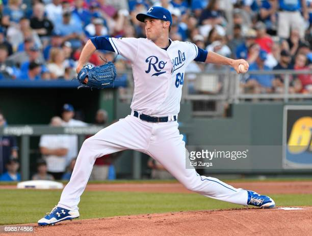 Matt Strahm of the Kansas City Royals throws in the first inning against the Boston Red Sox at Kauffman Stadium on June 20 2017 in Kansas City...