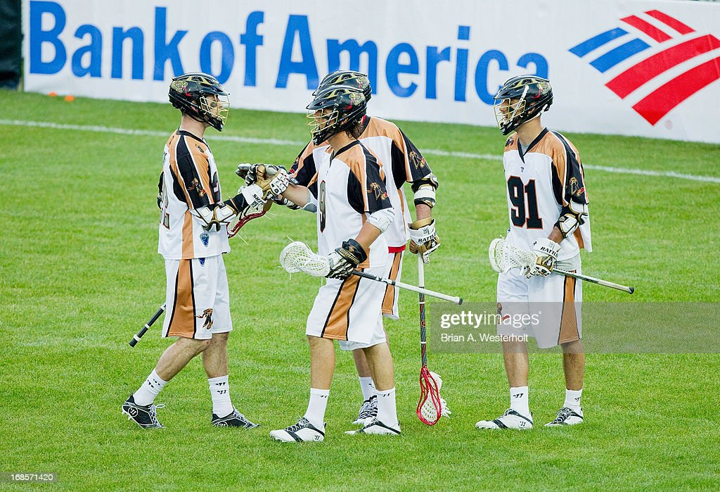 Matt Striebel #9 of the Rochester Rattlers celebrates with teammates after scoring a goal against the Charlotte Hounds at American Legion Memorial Stadium on May 11, 2013 in Charlotte, North Carolina.