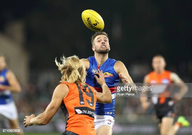Matt Suckling of the Bulldogs competes for the ball during the round six AFL match between the Greater Western Sydney Giants and the Western Bulldogs...