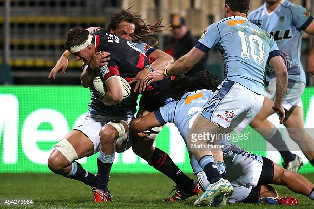 Matt Symons of Canterbury dives over in a tackle to score a try during the round three ITM Cup match between Canterbury and Northland at AMI Stadium...