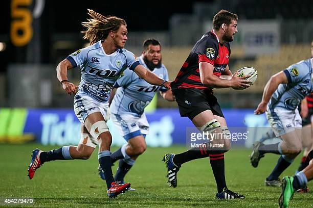 Matt Symons of Canterbury is tackled by Dan Pryor of Northland during the round three ITM Cup match between Canterbury and Northland at AMI Stadium...