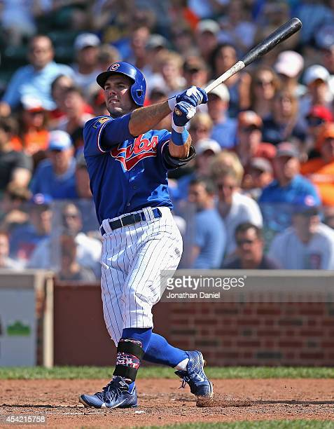 Matt Szczur of the Chicago Cubs bats against the Baltimore Orioles at Wrigley Field on August 24 2014 in Chicago Illinois The Cubs defeated the...