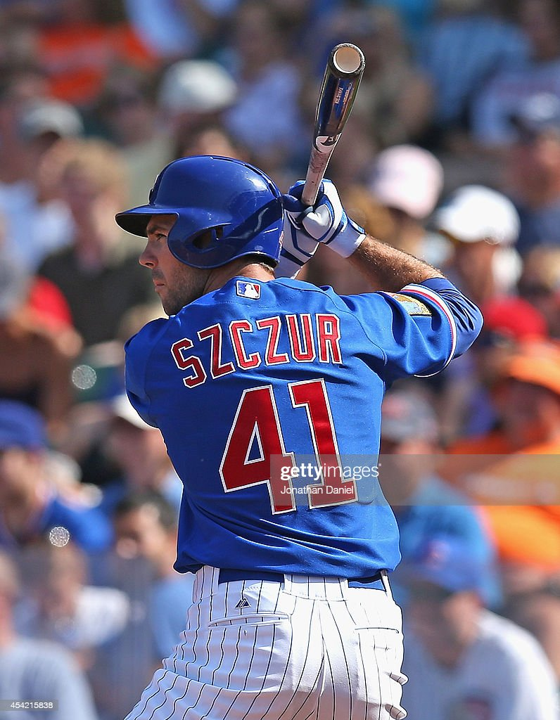 Matt Szczur #41 of the Chicago Cubs bats against the Baltimore Orioles at Wrigley Field on August 24, 2014 in Chicago, Illinois. The Cubs defeated the Orioles 2-1.