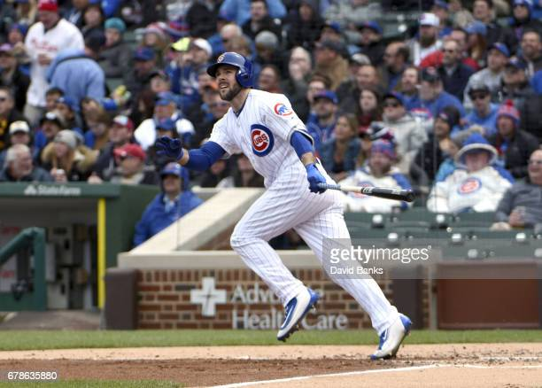Matt Szczur of the Chicago Cubs hits an RBI double against the Philadelphia Phillies during the second inning on May 4 2017 at Wrigley Field in...