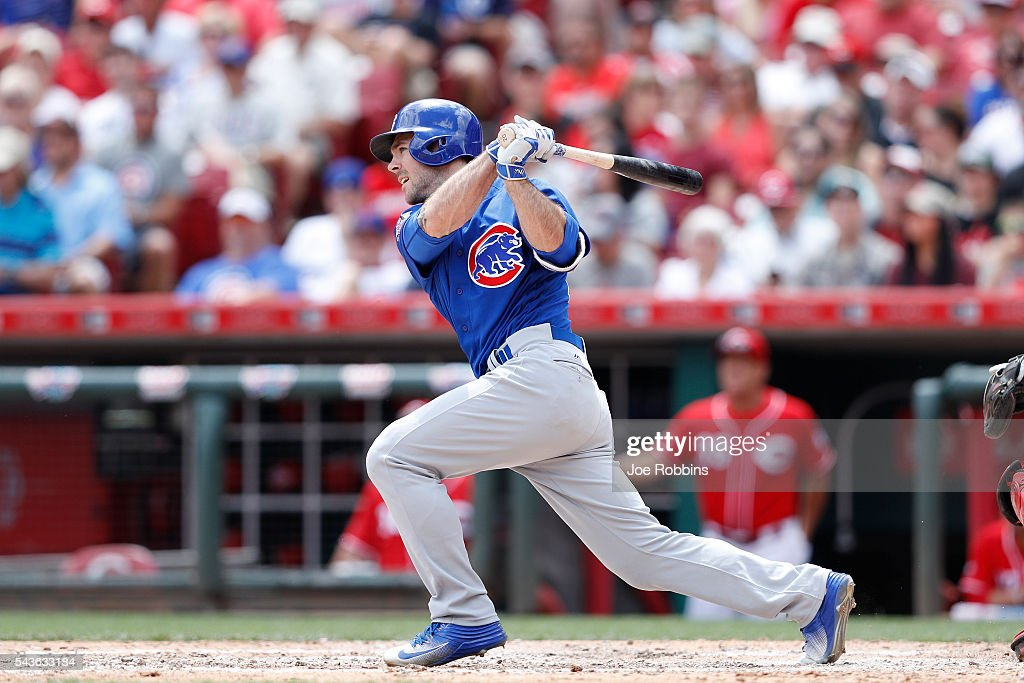 Matt Szczur #20 of the Chicago Cubs singles to center to drive in a run in the seventh inning of the game against the Cincinnati Reds at Great American Ball Park on June 29, 2016 in Cincinnati, Ohio. The Cubs defeated the Reds 9-2.