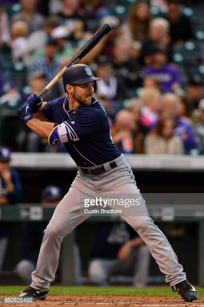 Matt Szczur of the San Diego Padres bats against the Colorado Rockies during a game at Coors Field on September 16 2017 in Denver Colorado