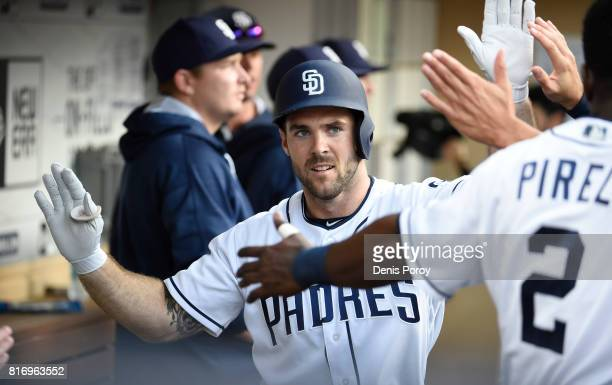 Matt Szczur of the San Diego Padres plays during a baseball game against the San Francisco Giants at PETCO Park on July 15 2017 in San Diego...