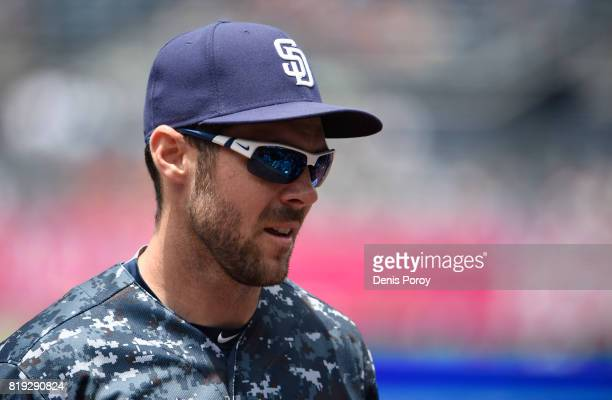 Matt Szczur of the San Diego Padres plays during a baseball game against the San Francisco Giants at PETCO Park on July 16 2017 in San Diego...