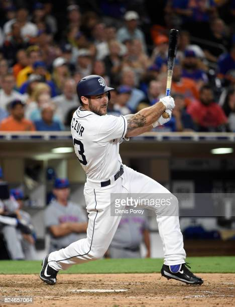 Matt Szczur of the San Diego Padres plays during a baseball game against the New York Mets at PETCO Park on July 24 2017 in San Diego California