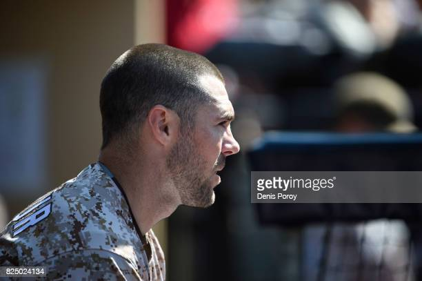 Matt Szczur of the San Diego Padres plays during a baseball game against the Pittsburgh Pirates at PETCO Park on July 30 2017 in San Diego California