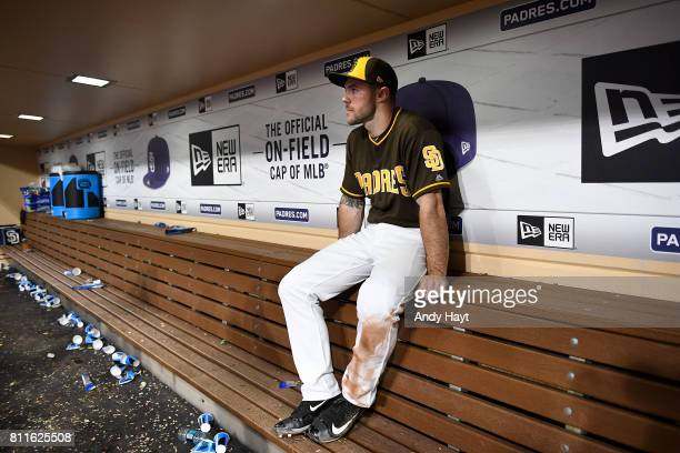 Matt Szczur of the San Diego Padres waits in the dugout to be interviewed following the final out during the game against the Kansas City Royals at...