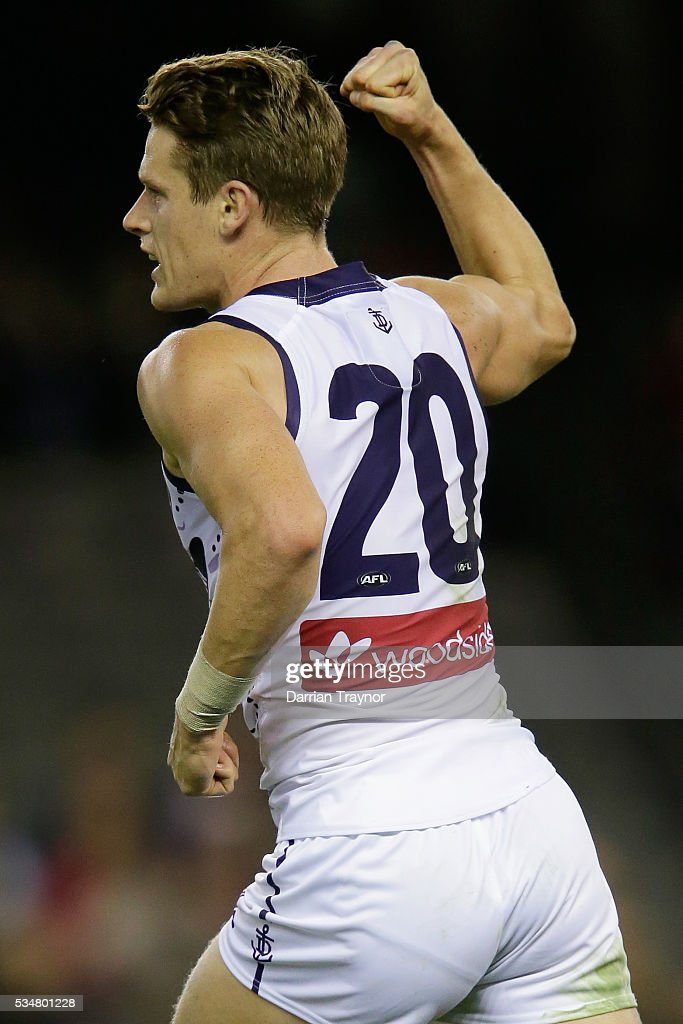 Matt Taberner of the Dockers celebrates a goal during the round 10 AFL match between the St Kilda Saints and the Fremantle Dockers at Etihad Stadium on May 28, 2016 in Melbourne, Australia.