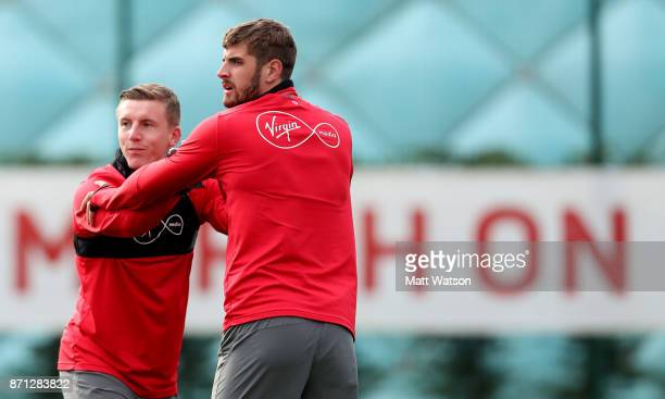 Matt Targett and Jack Stephens during a Southampton FC training session at the Staplewood Campus on November 7 2017 in Southampton England