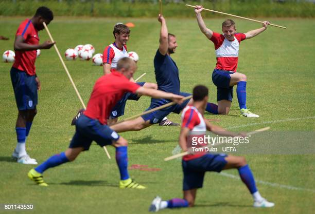 Matt Targett of England U21 warms up during a training session on the eve of their UEFA European Under21 Championship Semifinal against Germany on...
