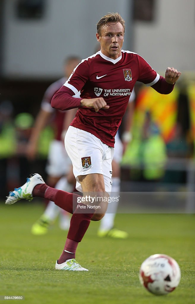 Matt Taylor of Northampton Town in action during the EFL Cup second round match between Northampton Town and West Bromwich Albion at Sixfields...