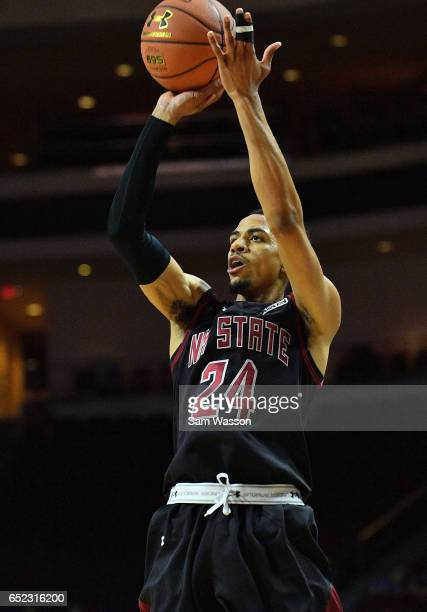 Matt Taylor of the New Mexico State Aggies shoots against the Cal State Bakersfield Roadrunners during the championship game of the Western Athletic...