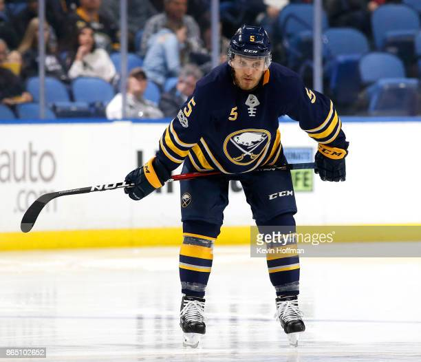 Matt Tennyson of the Buffalo Sabres during the game against the Vancouver Canucks at the KeyBank Center on October 20 2017 in Buffalo New York