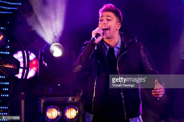 Matt Terry performs on stage during the Oxford Street Christmas Lights switch On at Oxford Street on November 7 2017 in London England
