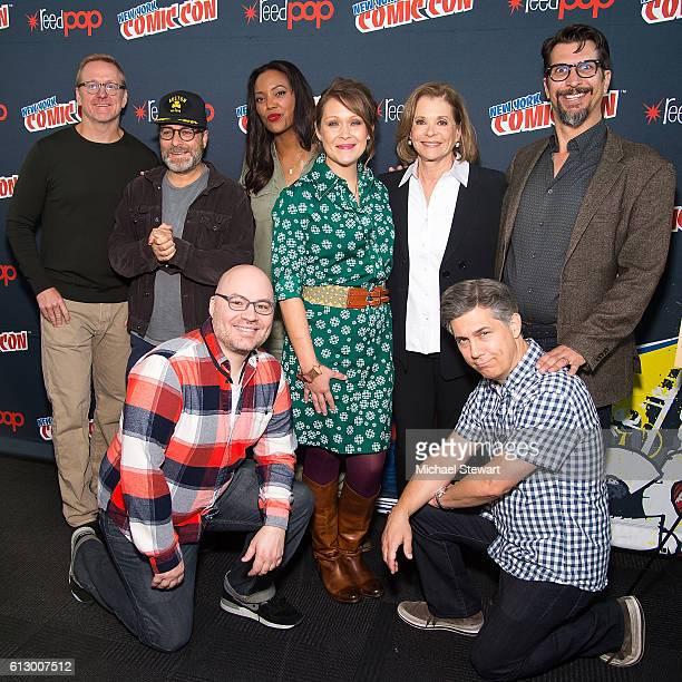 Matt Thompson H Jon Benjamin Casey Willis Aisha Tyler Amber Nash Jessica Walter Chris Parnell and Lucky Yates attend the 'Archer' press room during...