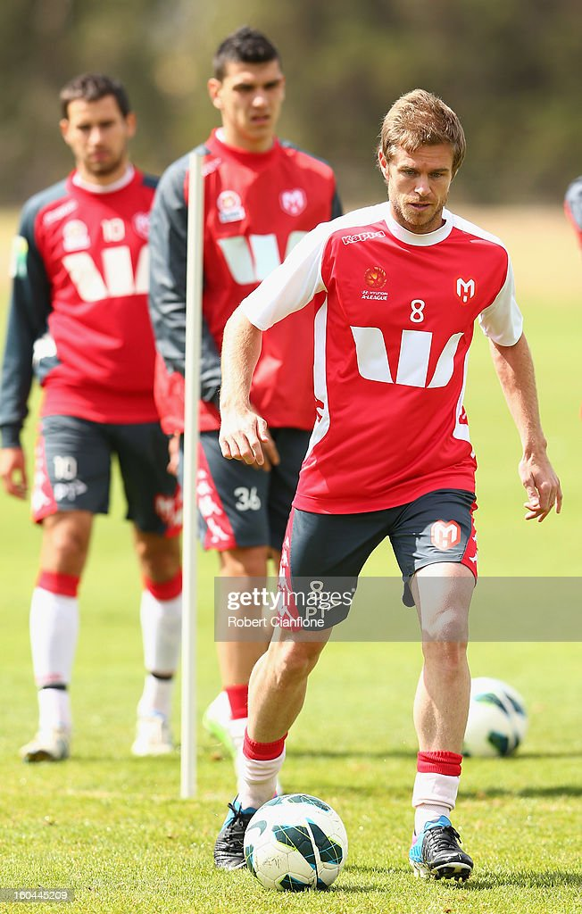 Matt Thompson of the Heart controls the ball during a Melbourne Heart A-League training session at La Trobe University Sports Fields on February 1, 2013 in Melbourne, Australia.