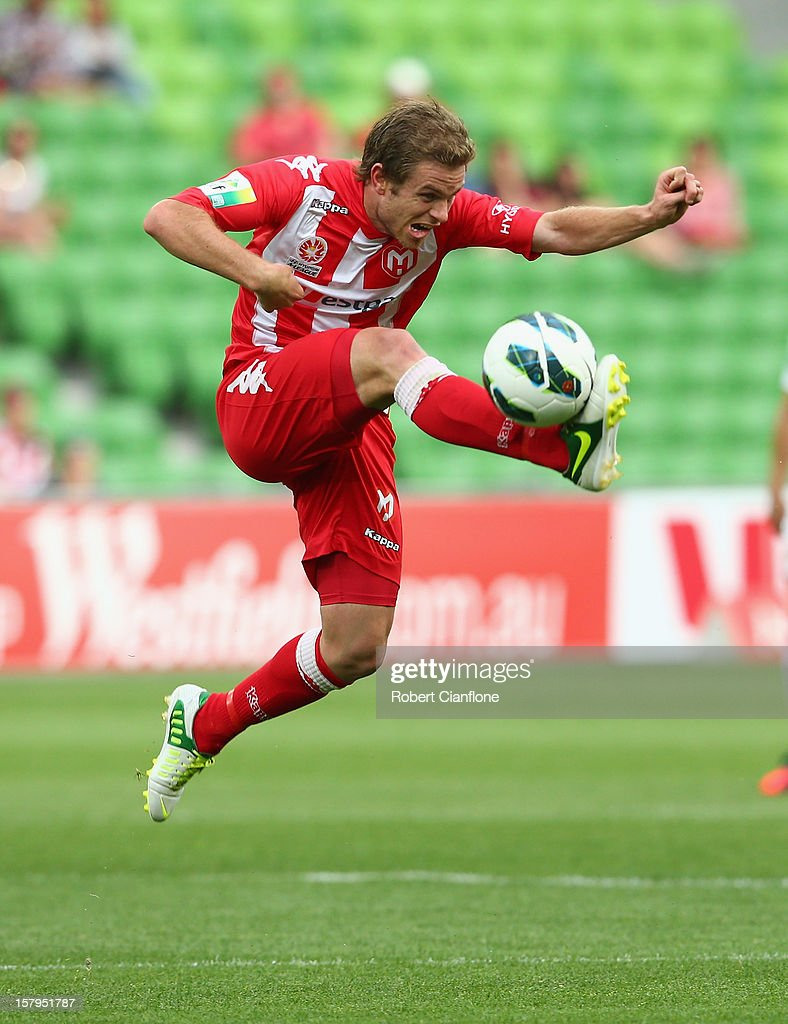 Matt Thompson of the Heart looks to control the ball during the round 10 A-League match between the Melbourne Heart and the Perth Glory at AAMI Park on December 8, 2012 in Melbourne, Australia.