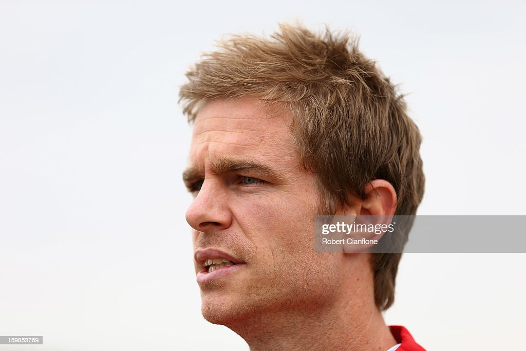 Matt Thompson of the Heart talks to the media during a Melbourne Heart A-League training session at La Trobe University Sports Fields on January 22, 2013 in Melbourne, Australia.