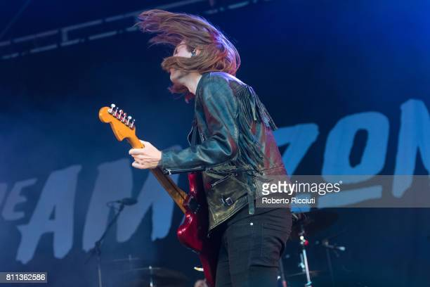 Matt Thomson of English rock band The Amazons performs on stage during TRNSMT Festival Day 3 at Glasgow Green on July 9 2017 in Glasgow Scotland