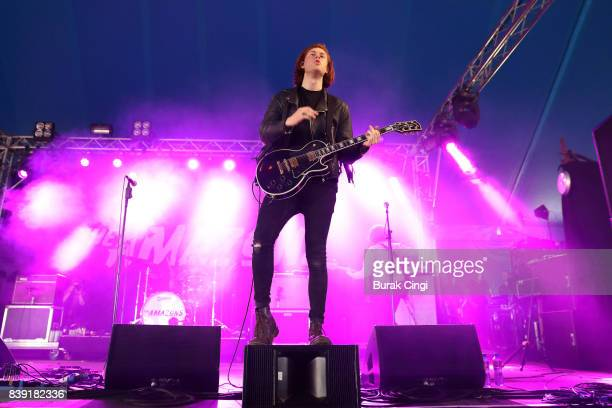 Matt Thomson of The Amazons performs on day one of Reading Festival at Richfield Avenue on August 25 2017 in Reading England