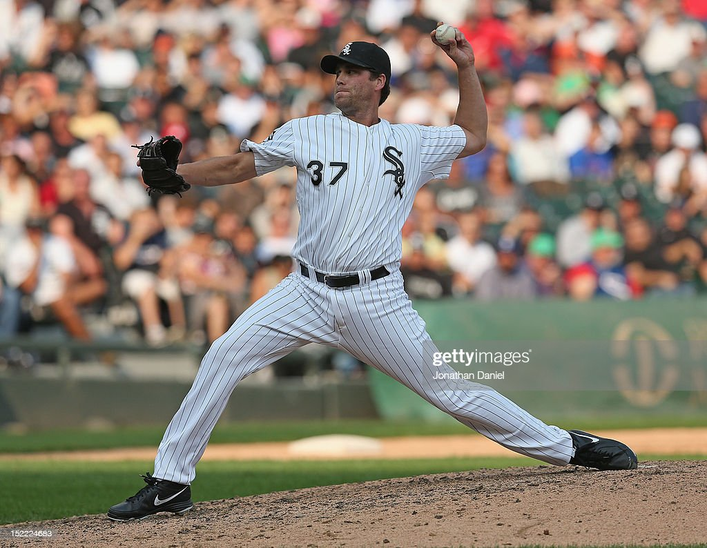 <a gi-track='captionPersonalityLinkClicked' href=/galleries/search?phrase=Matt+Thornton&family=editorial&specificpeople=240259 ng-click='$event.stopPropagation()'>Matt Thornton</a> #37 of the Chicago White Sox pitches in the 9th inning against the Detroit Tigers at U.S. Cellular Field on September 17, 2012 in Chicago, Illinois. The White Sox defeated the Tigers 5-4.