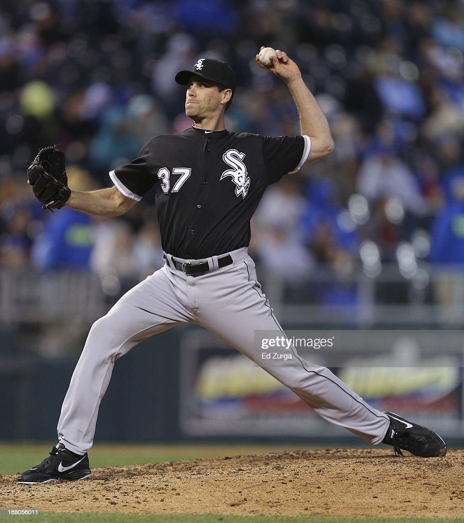 <a gi-track='captionPersonalityLinkClicked' href=/galleries/search?phrase=Matt+Thornton&family=editorial&specificpeople=240259 ng-click='$event.stopPropagation()'>Matt Thornton</a> #37 of the Chicago White Sox throws against the Kansas City Royals in the eighth inning at Kauffman Stadium on May 4, 2013 in Kansas City, Missouri. The Royals won 2-0.