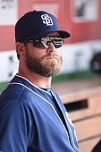 Matt Thornton of the San Diego Padres looks on before a baseball game against the Washington Nationals at Nationals Park on July 24 2016 in...