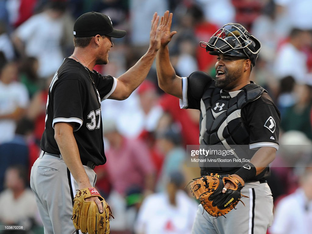 Matt Thorton #37 of the Chicago White Sox celebrates with catcher Ramon Castro #27 after defeating the Boston Red Sox Chicago on September 5, 2010 at Fenway Park in Boston, Massachusetts.