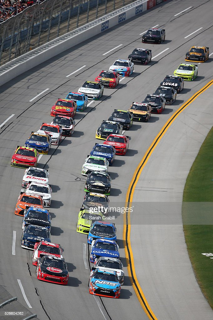 Matt Tifft, driver of the #18 NOS Energy Drink Toyota, and <a gi-track='captionPersonalityLinkClicked' href=/galleries/search?phrase=Austin+Dillon&family=editorial&specificpeople=5075945 ng-click='$event.stopPropagation()'>Austin Dillon</a>, driver of the #2 Rheem Chevrolet, lead the field in a restart during the NASCAR XFINITY Series Sparks Energy 300 at Talladega Superspeedway on April 30, 2016 in Talladega, Alabama.