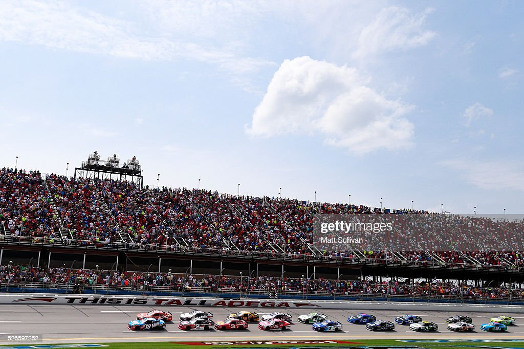 Matt Tifft, driver of the #18 NOS Energy Drink Toyota, and Daniel Suarez, driver of the #19 ARRIS Toyota, lead the field to the green flag to start the NASCAR XFINITY Series Sparks Energy 300 at Talladega Superspeedway on April 30, 2016 in Talladega, Alabama.