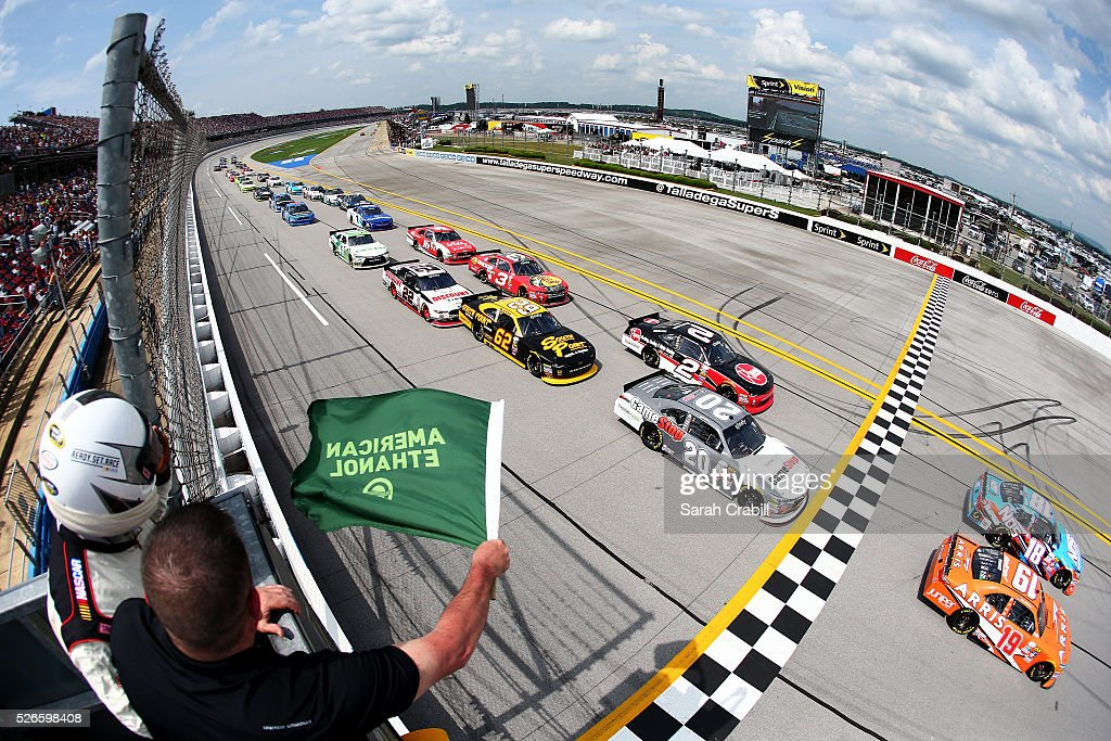 Matt Tifft, driver of the #18 NOS Energy Drink Toyota, and Daniel Suarez, driver of the #19 ARRIS Toyota, lead the field past the green flag to start the NASCAR XFINITY Series Sparks Energy 300 at Talladega Superspeedway on April 30, 2016 in Talladega, Alabama.