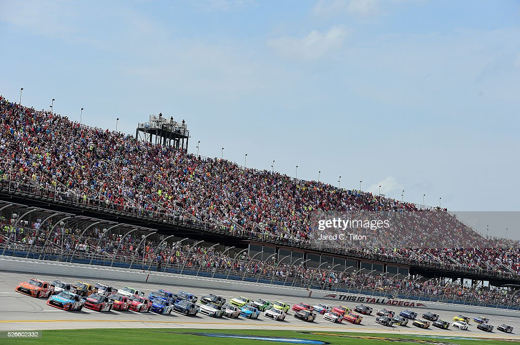 Matt Tifft, driver of the #18 NOS Energy Drink Toyota, and Daniel Suarez, driver of the #19 ARRIS Toyota, leads the field to the green flag to start during the NASCAR XFINITY Series Sparks Energy 300 at Talladega Superspeedway on April 30, 2016 in Talladega, Alabama.