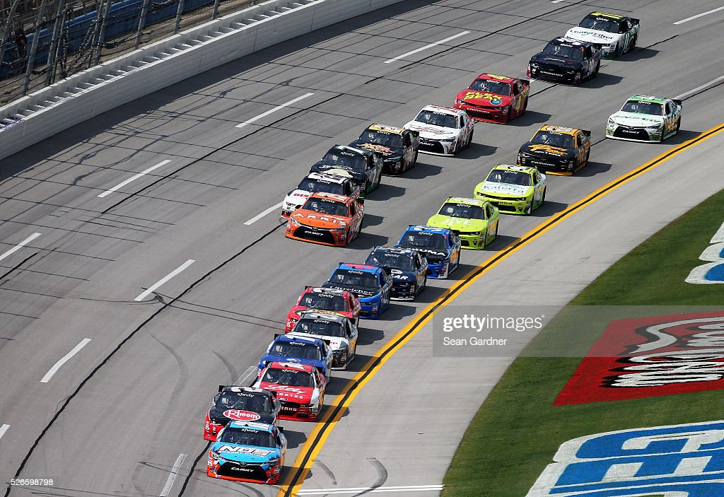 Matt Tifft, driver of the #18 NOS Energy Drink Toyota, leads a pack of cars during the NASCAR XFINITY Series Sparks Energy 300 at Talladega Superspeedway on April 30, 2016 in Talladega, Alabama.