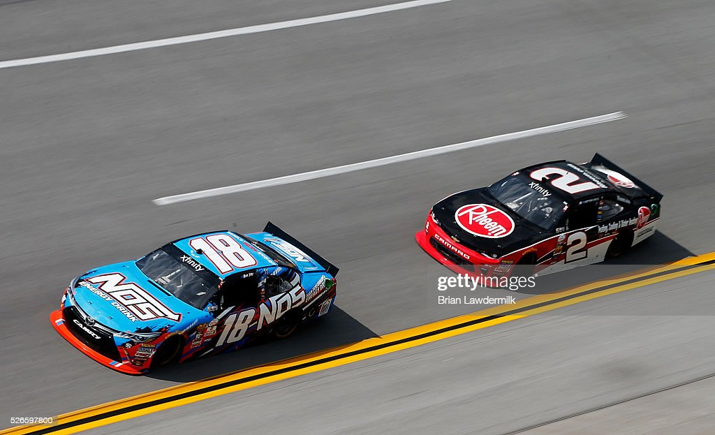 Matt Tifft, driver of the #18 NOS Energy Drink Toyota, leads <a gi-track='captionPersonalityLinkClicked' href=/galleries/search?phrase=Austin+Dillon&family=editorial&specificpeople=5075945 ng-click='$event.stopPropagation()'>Austin Dillon</a>, driver of the #2 Rheem Chevrolet, during the NASCAR XFINITY Series Sparks Energy 300 at Talladega Superspeedway on April 30, 2016 in Talladega, Alabama.
