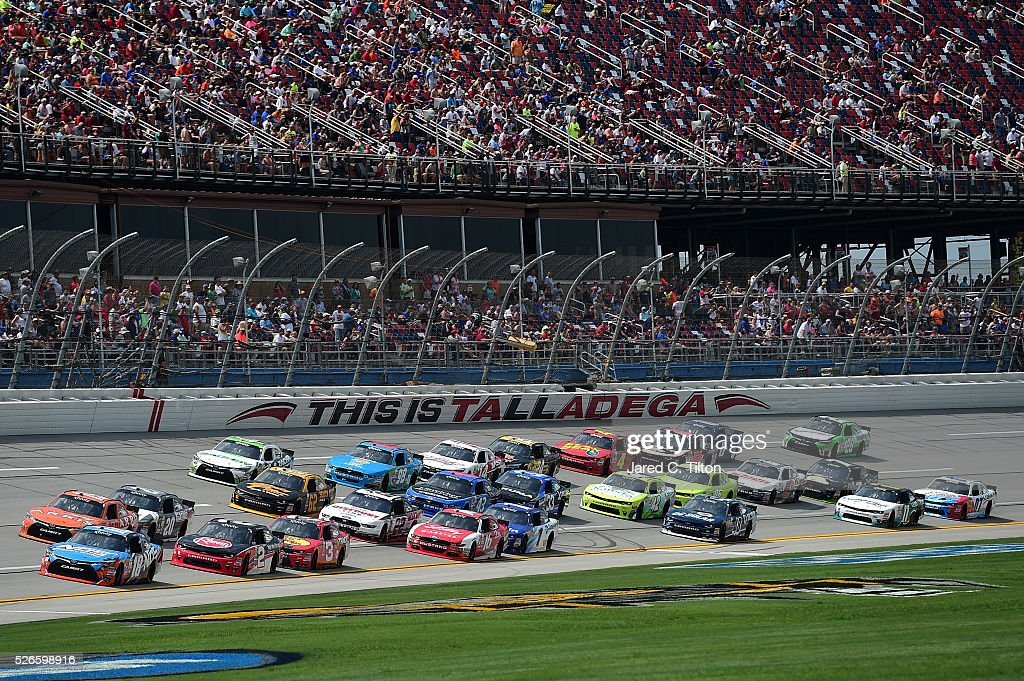 Matt Tifft, driver of the #18 NOS Energy Drink Toyota, leads the field during the NASCAR XFINITY Series Sparks Energy 300 at Talladega Superspeedway on April 30, 2016 in Talladega, Alabama.