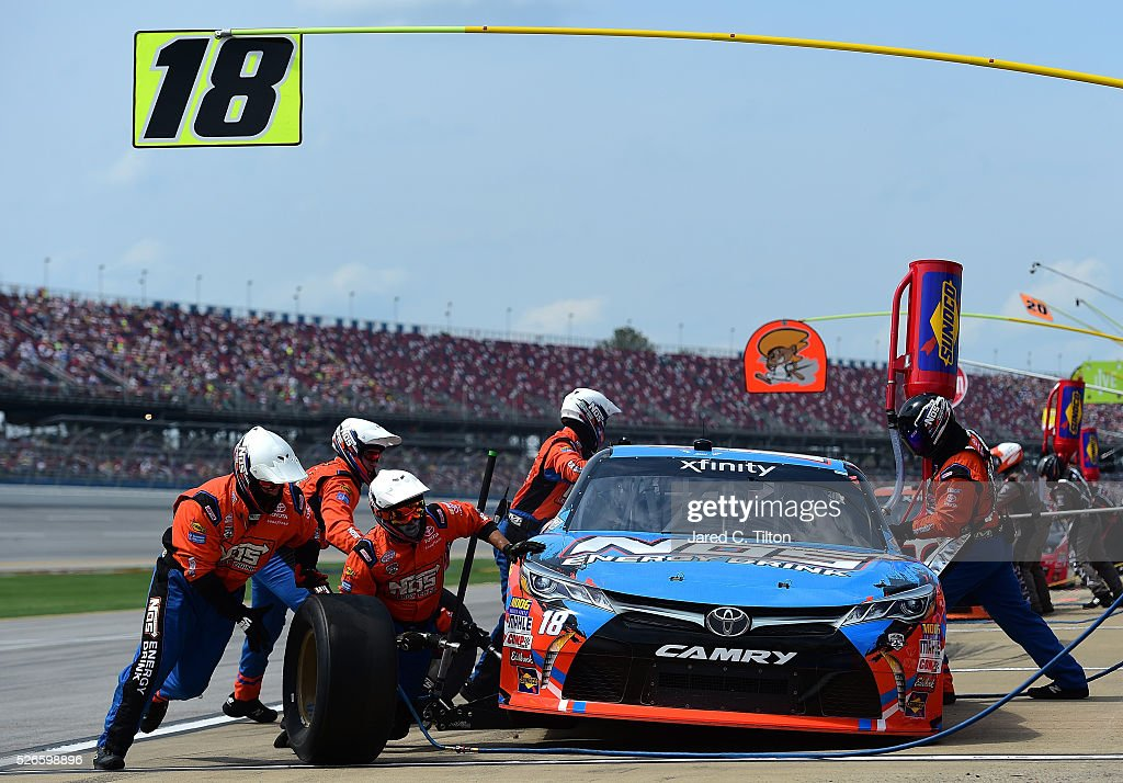 Matt Tifft, driver of the #18 NOS Energy Drink Toyota, pits during the NASCAR XFINITY Series Sparks Energy 300 at Talladega Superspeedway on April 30, 2016 in Talladega, Alabama.