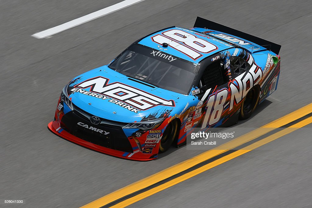 Matt Tifft, driver of the #18 NOS Energy Drink Toyota, practices for the NASCAR XFINITY Series Sparks Energy 300 at Talladega Superspeedway on April 29, 2016 in Talladega, Alabama.