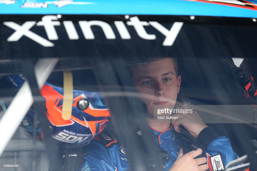 Matt Tifft, driver of the #18 NOS Energy Drink Toyota, sits in his car during practice for the NASCAR XFINITY Series Sparks Energy 300 at Talladega Superspeedway on April 29, 2016 in Talladega, Alabama.